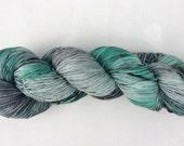 Lichen - Green yarn - Grey yarn - Hand dyed yarn - Speckled yarn - Superwash Merino wool - Nylon -  Acid dye - Sock weight