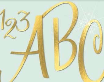 GOLD FOIL ALPHABET Digital ClipArt: Letters, Numbers, Symbols, Printable Gold Foil Letters, Large Alphabet Clip Art, Transparent Png