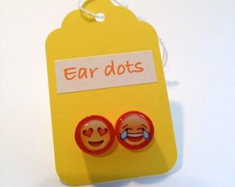 Cute Stud Earrings - Red - Wooden Earrings - Fun Emoji Studs