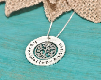 Necklace for mom with kids names | sterling silver tree charm | Hand stamped necklace | Mother's Day | family tree necklace