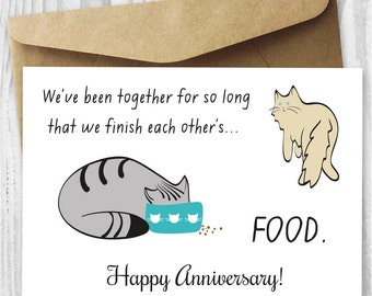 Happy Anniversary Card, Printable Funny Anniversary Card, Anniversary Cat  Card DIY, Anniversary Cats  Anniversary Cards Printable