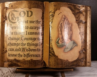 Serenity Prayer Book Praying Hands Vintage Religious Book on Stand Gold Painted Book with Serenity Prayer Religious Decor Christian Book