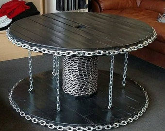 Custom Cable Spool Table with Industrial Chain Look