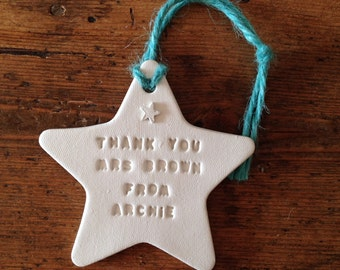 Teacher's gift ~ personalised white clay star ~ clay decoration - end of term - teacher's present ~ teacher's thank you gift