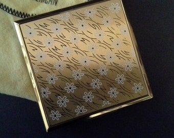 Elgin American Powder Compact With White Flowers And Black Lines