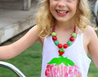 Girls Strawberry Chunky Bead Necklace