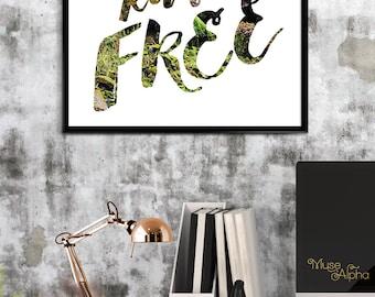 Wild Hearts Run Free Print, Adventure Wall Art, Green Nature Art Print, Modern Nursery Print, Woodlands Nature Photograph