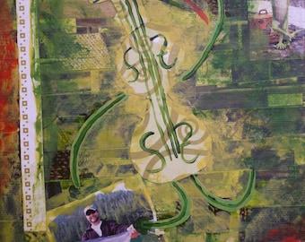 "Mixed Media Collage Art ""Dancing Cello"""