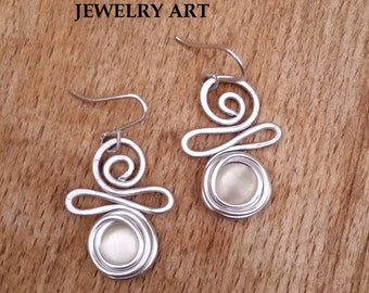 Wedding Earrings, Bridesmaid Gift, Wedding Jewelry, Pearly Earrings, Silver Dangle Earrings, Waves Earrings, Lightweight Charm Earrings