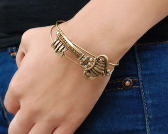 Key Bracelet, Key Jewelry, Key Bangle, Skeleton Key, Bracelet, Steampunk Bracelet, Key, Bangle Bracelet, Gift for Her, Wire Bracelet BR354