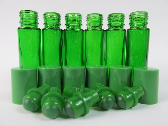 Green Clear Glass Roll On Bottles 1 3 Oz 10 Ml By