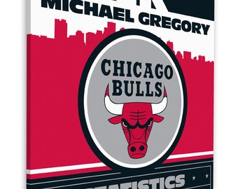 Chicago bulls baby etsy chicago bulls personalized baby gift canvas birth announcement negle Images