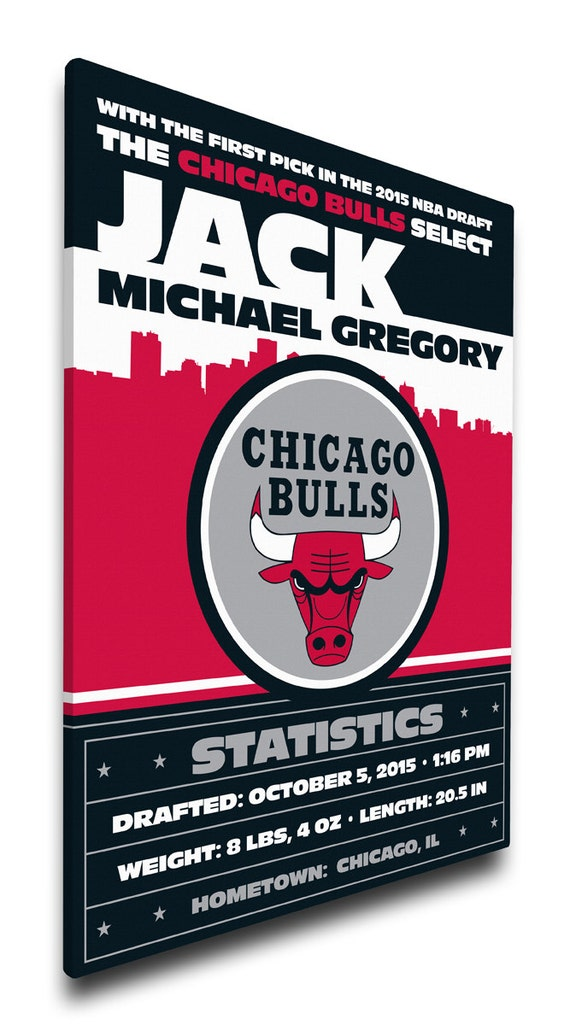 Chicago Bulls Personalized Baby Gift - Canvas Birth Announcement