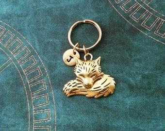 Fox Keychain SMALL Gold Fox Keyring Personalized Keychain Animal Keychain Fox Gift Abstract Fox Jewelry Gold Keychain Bridesmaid Keychain