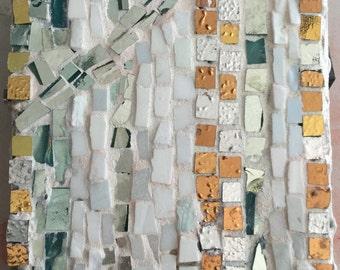 yellow and white gold mosaic with white smalti mosaic tessera