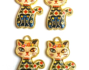 Golden Siamese Cat Resin Charms 4pcs