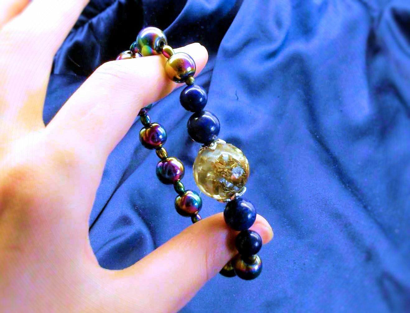 orgonite bracelet with rainbow hematite lapis lazuli
