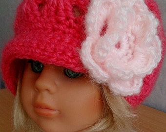 Girls Pink Crocheted Slouchy Newsboy Hat with Large Flower