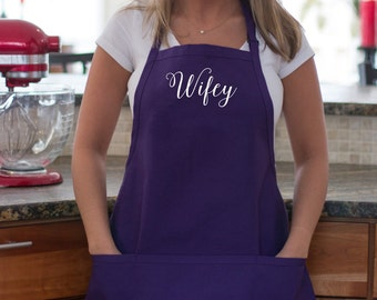 Wifey apron Custom personalized apron with pockets. Birthday Gift. Gift for the cook, baker holiday gift idea Bride gift idea. Newlywed gift
