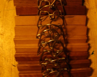 wooden clamp type pant/skirt hangars lot of 14