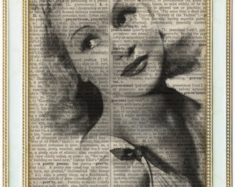 Betty Grable print art on 8x10 upcycled dictionary page 8x10