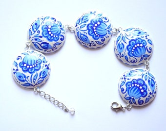 Blue paint Bracelet Handmade Jewelry Boho Bracelet hand painted Gift Idea for her Blue and white wedding jewelry elegant Folk Jewelry ethnic