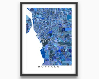 Buffalo Map Print, Buffalo New York Map Art, City Street Maps