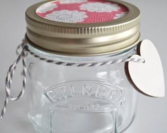 Storage Kilner/Mason Jar - Raspberry Daisy Fabric Design Lid