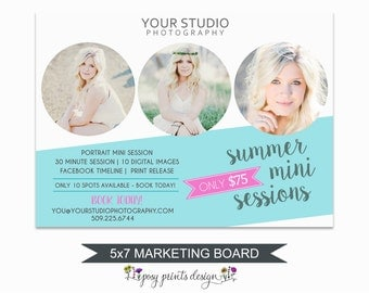 Summer Mini Session Marketing Board - Template for Photographers - Digital Photoshop Template - 5x7 Photography Design - SPS02