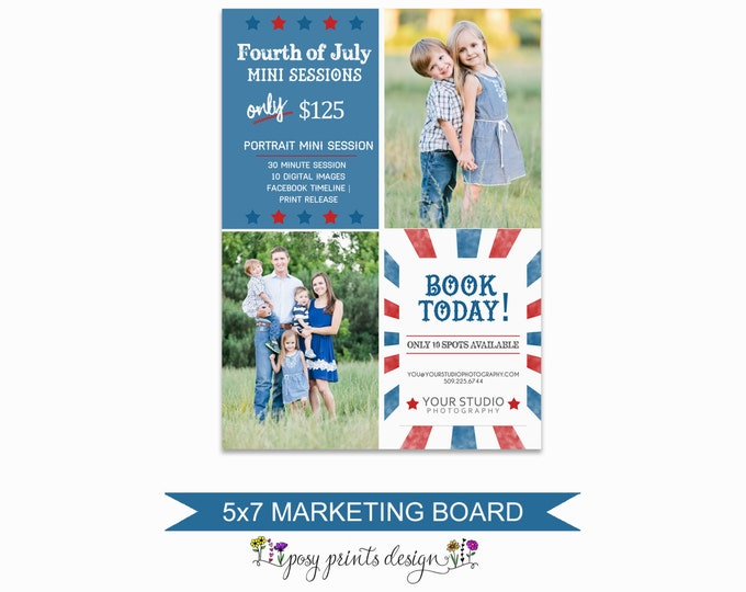 4th of July Mini Session Marketing Board - Template for Photographers - Digital Photoshop Template - 5x7 Photography Design - FJM03