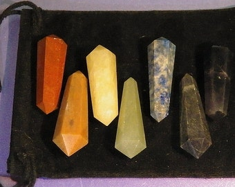 7 CHAKRA Stone CRYSTAL WAND Set with Pouch, Reiki Energy Healing