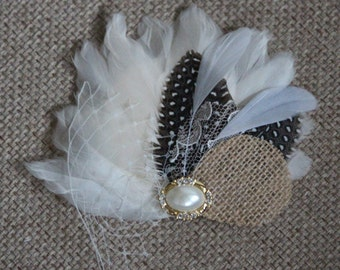 Feather and burlap bridal hair piece