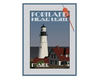 Giclee Print: Portland Head Light, Maine original illustration