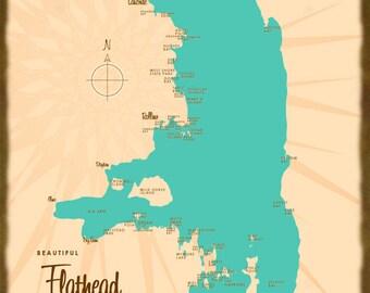 Flathead Lake Mt Map Wood Or Metal Sign