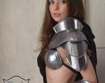 "Larp, Female Armor ,Fantasy, Cospaly Costume, Viking steel  armor for women, shoulder/pauldron ""Heroine of Arena"" one unit"