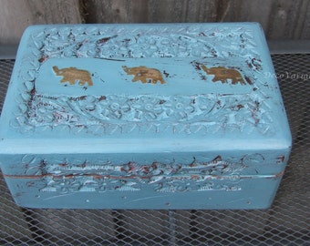 carved wooden box / elephant box