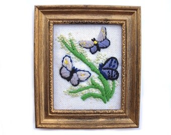 Vintage butterfly crewel embroidery, blue butterfly garden art, framed purple butter fly artwork, insect flower nursery decor