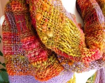 Lightweight Hand Woven Wool Wrap Shawl,Art Yarn Wrap in Open Weave Technique.Handspun  Handwoven Saori Wrap Shawl.Natural Wool Smart wrap