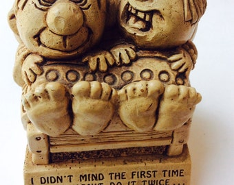 Funny Couple PAULA W 269  1972 Couples Vintage Figurine Couple Statue Funny Anniversary Newly Wed Gift Humorous Bachelor Present Made in USA