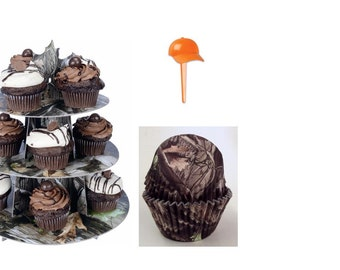 Tree Bark Cupcake Stand and 24 Tree Bark Baking Cups with 24 Orange Hat Picks