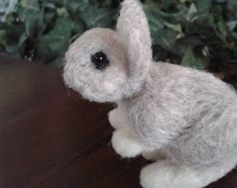 Needle felted rabbit , bunny,  animal pet unique gift idea, grey bunny, handmade ready to ship soft sculpture , bunny, gift ideas xmas