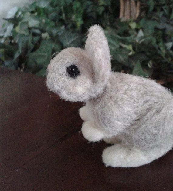 Needle felted rabbit , bunny,  animal pet unique gift idea, grey bunny, handmade ready to ship soft sculpture , bunny, gift ideas xmas
