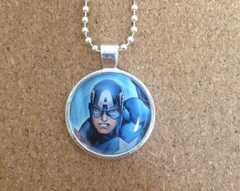 Captain America comic book necklace, jewellery, ball chain, cameo,marvel comics.