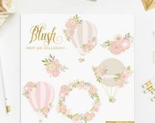 Pink Hot Air Balloons Flowers ClipArt Intant Download Digital Blush Powder Ballet Girly Romantic Spring Shabby Chick Baby Invitation DIY