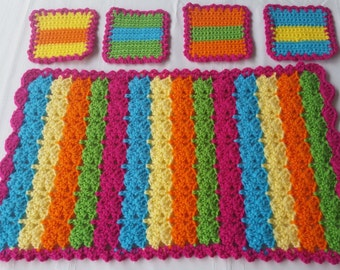 crochet coasters, crochet placemats, Mexican placemats, Mexican coasters, crochet fiesta, fiesta party, crochet table mats, table linens