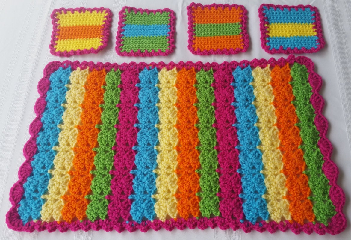 Crochet Coasters Crochet Placemats Mexican Placemats