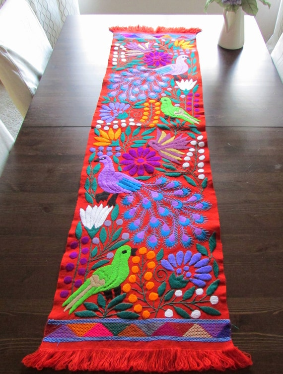 Table Runner Chevron color Mexican Textile by ArteDeMiTierraMX