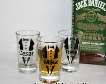 Set of 5 personalized wedding shot glasses/ tux/ groom/ groomsman/ bachelor party