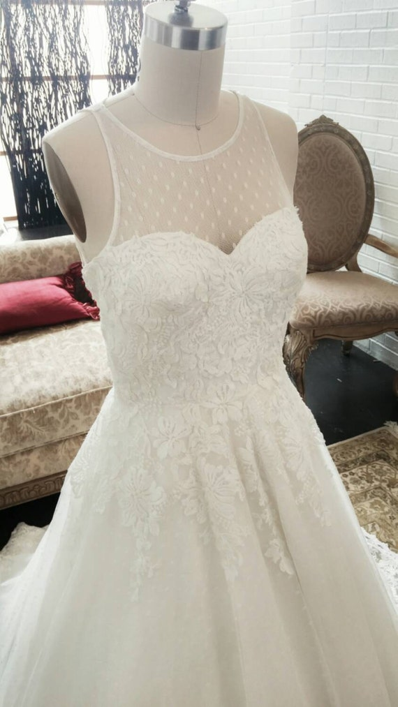 Unique swiss dot vintage wedding dress with by for Dotted swiss wedding dress