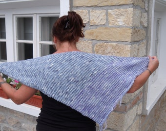 Knit cotton shawl - summer cowl - fringed wrap  - Knitted cowl - Ladies cotton knit wrap / cowl / shawl in shades of blue and lilac
